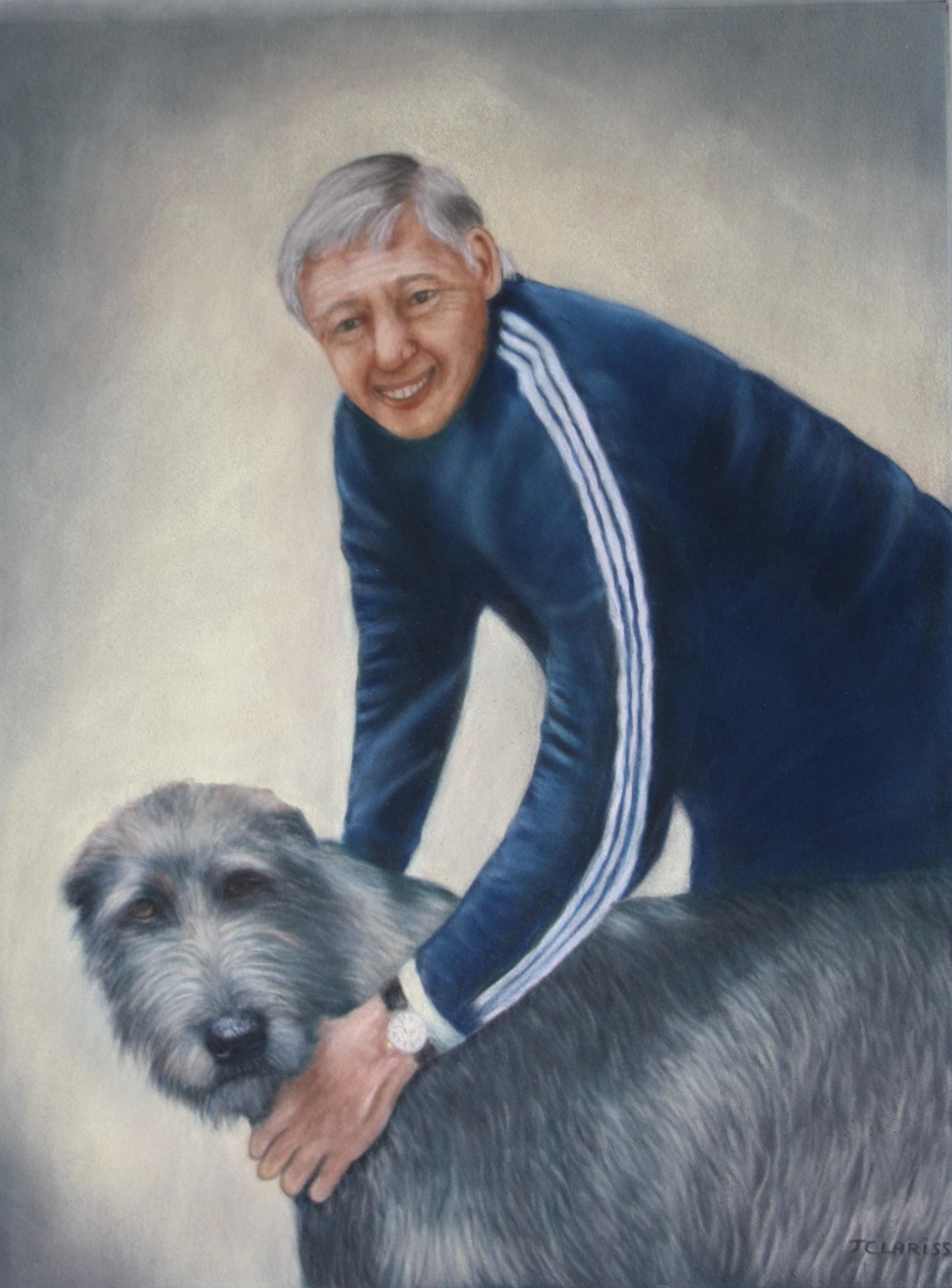Mon père avec un Irish Wolfhound